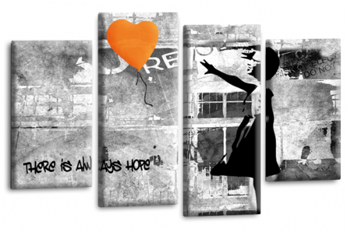 Banksy Wall Art Canvas Orange Balloon Girl Picture Love Peace Multi Panel